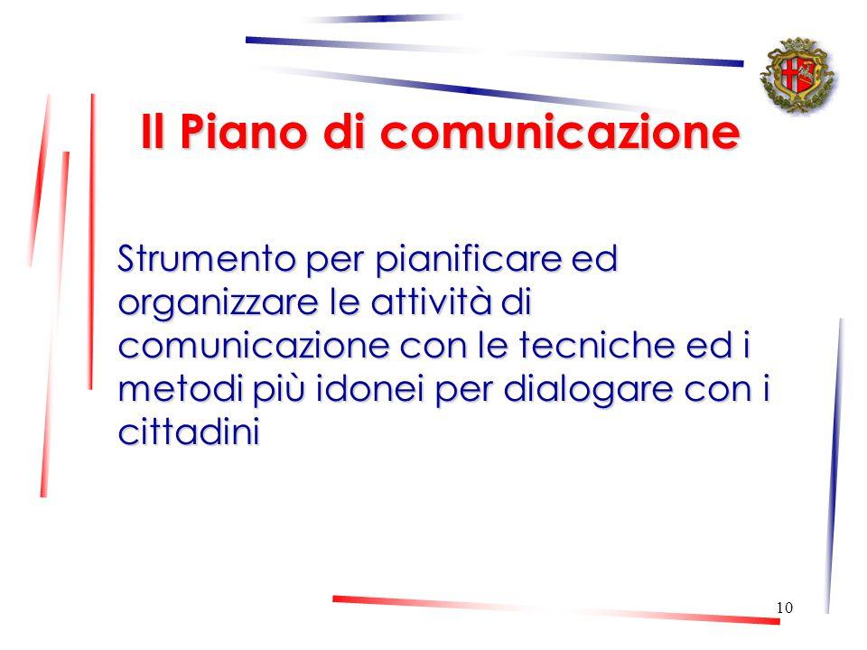 9 L'analisi dei fabbisogni Dopo aver definito i flussi di comunicazione interna, si è passati ad analizzare i fabbisogni di comunicazione interni (per