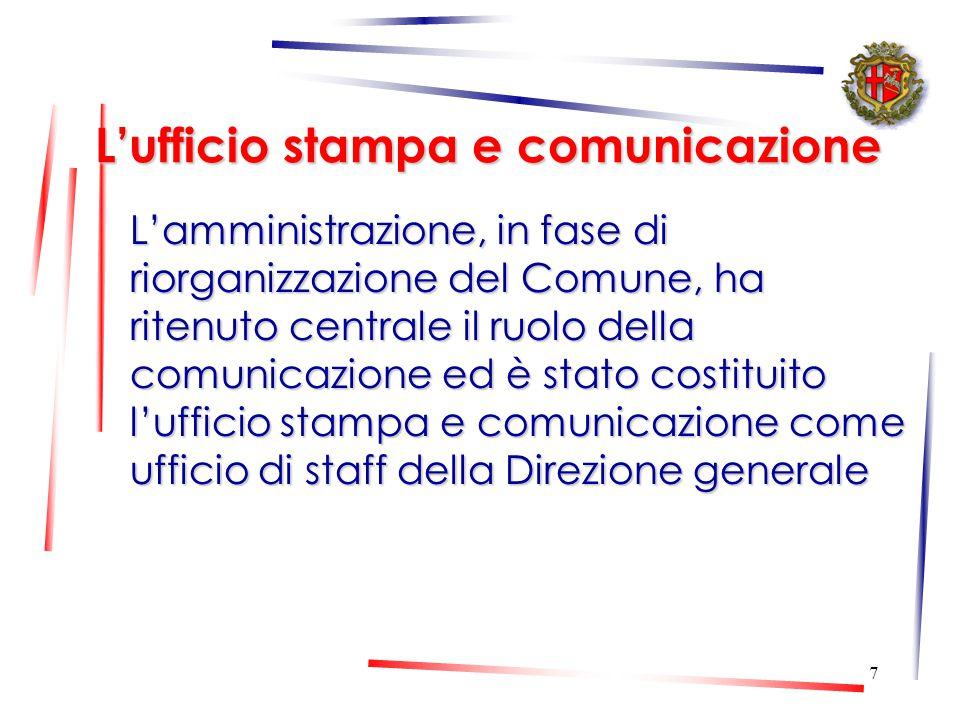 7 L'ufficio stampa e comunicazione L'amministrazione, in fase di riorganizzazione del Comune, ha ritenuto centrale il ruolo della comunicazione ed è stato costituito l'ufficio stampa e comunicazione come ufficio di staff della Direzione generale