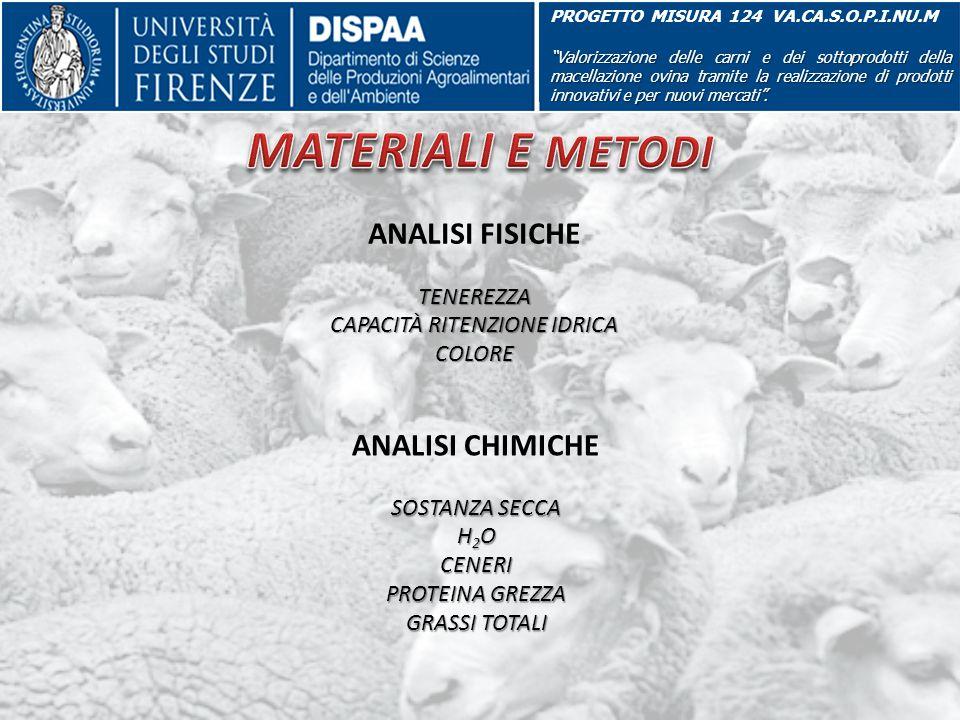 PROGETTO MISURA 124 VA.CA.S.O.P.I.NU.M Valorizzazione delle carni e dei sottoprodotti della macellazione ovina tramite la realizzazione di prodotti innovativi e per nuovi mercati .