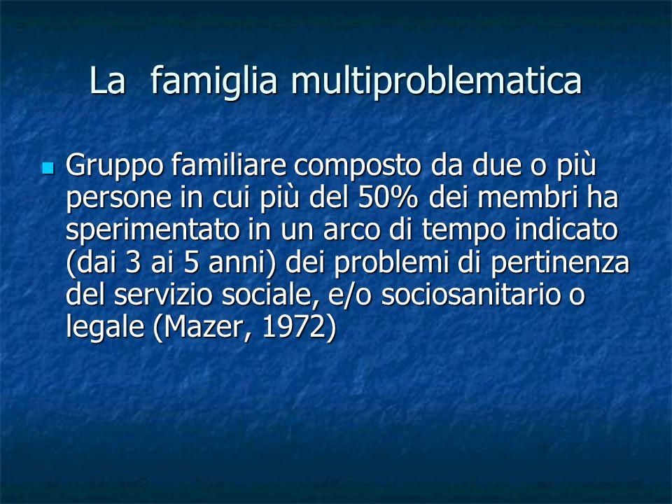 La famiglia multiproblematica Gruppo familiare composto da due o più persone in cui più del 50% dei membri ha sperimentato in un arco di tempo indicato (dai 3 ai 5 anni) dei problemi di pertinenza del servizio sociale, e/o sociosanitario o legale (Mazer, 1972) Gruppo familiare composto da due o più persone in cui più del 50% dei membri ha sperimentato in un arco di tempo indicato (dai 3 ai 5 anni) dei problemi di pertinenza del servizio sociale, e/o sociosanitario o legale (Mazer, 1972)