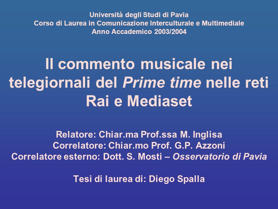 Università degli Studi di Pavia Corso di Laurea in Comunicazione Interculturale e Multimediale Anno Accademico 2003/2004 Il commento musicale nei tele