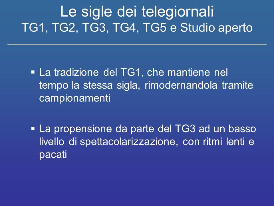 Le sigle dei telegiornali TG1, TG2, TG3, TG4, TG5 e Studio aperto  La coniugazione tra tradizione e innovazione con effetti di spettacolarizzazione da parte del TG5 e TG2  L'impiego di tecnologie in musiche e grafica e di ritmi incalzanti indirizzati ad un target giovane, da parte di Studio aperto e TG4