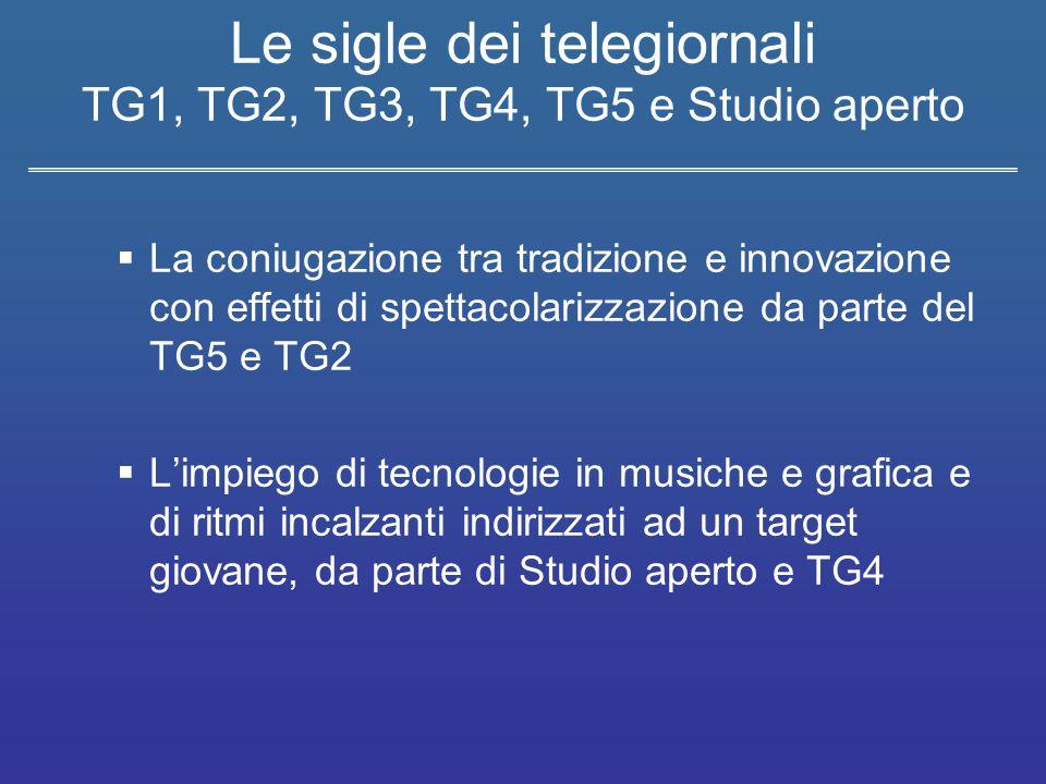 Le sigle dei telegiornali TG1, TG2, TG3, TG4, TG5 e Studio aperto  La coniugazione tra tradizione e innovazione con effetti di spettacolarizzazione d