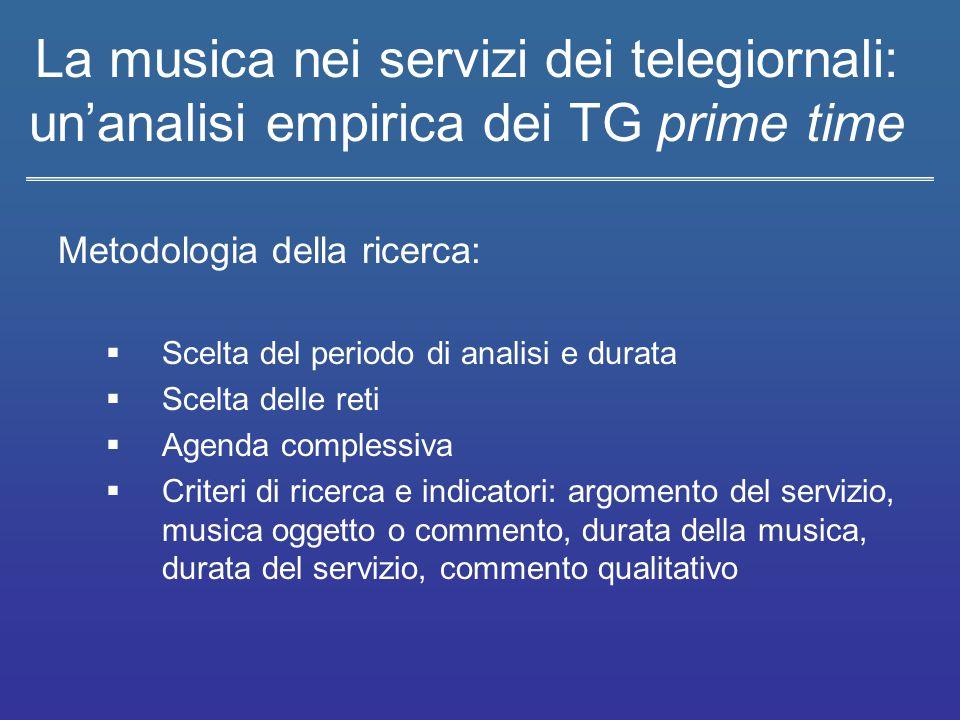 La musica nei servizi dei telegiornali: un'analisi empirica dei TG prime time Metodologia della ricerca:  Scelta del periodo di analisi e durata  Sc