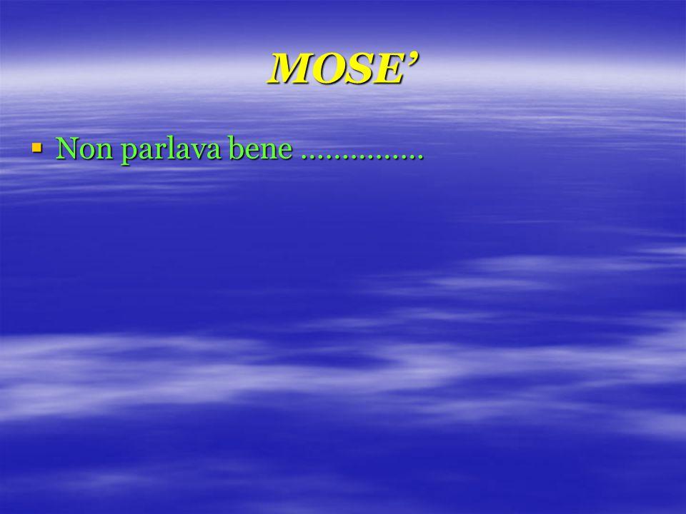 MOSE'  Non parlava bene ……………
