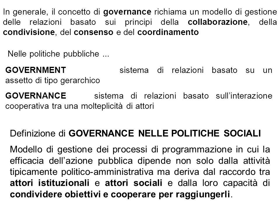 In generale, il concetto di governance richiama un modello di gestione delle relazioni basato sui principi della collaborazione, della condivisione, d