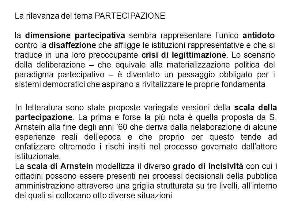 In letteratura sono state proposte variegate versioni della scala della partecipazione. La prima e forse la più nota è quella proposta da S. Arnstein