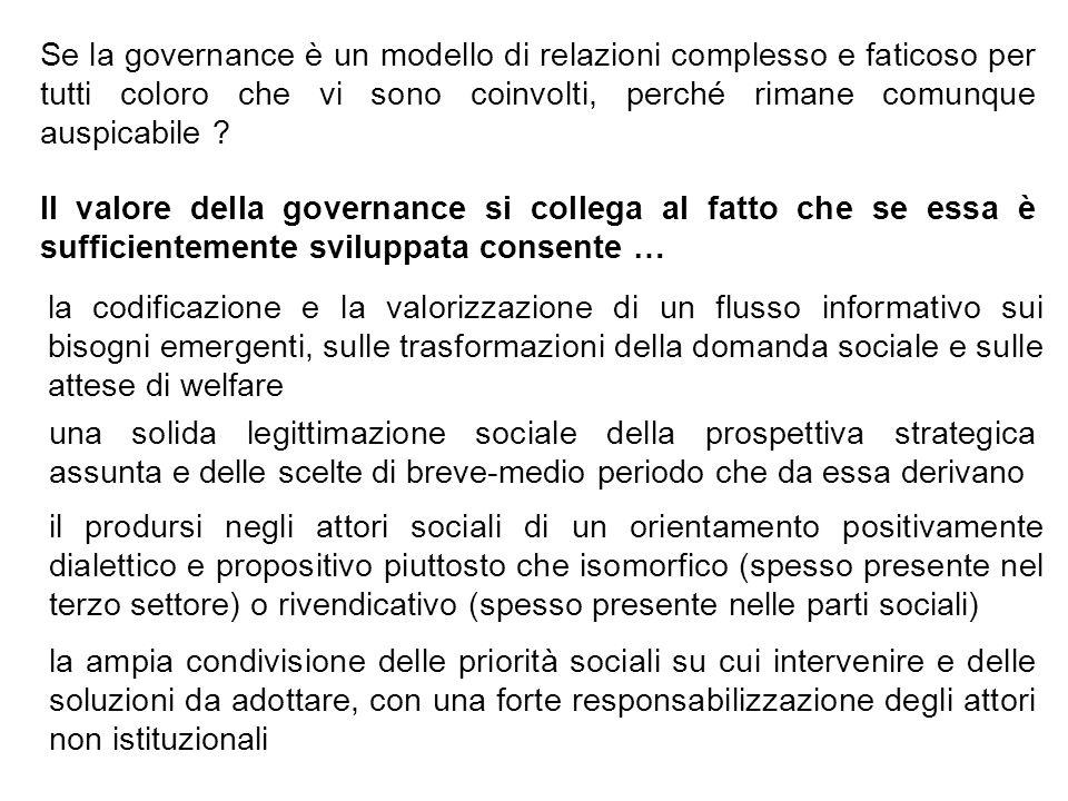 Se la governance è un modello di relazioni complesso e faticoso per tutti coloro che vi sono coinvolti, perché rimane comunque auspicabile ? Il valore