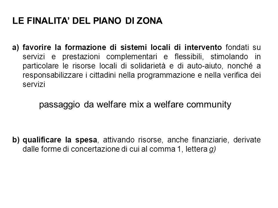 LE FINALITA' DEL PIANO DI ZONA a)favorire la formazione di sistemi locali di intervento fondati su servizi e prestazioni complementari e flessibili, s