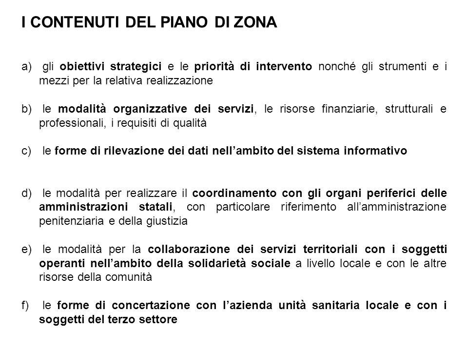 I CONTENUTI DEL PIANO DI ZONA a) gli obiettivi strategici e le priorità di intervento nonché gli strumenti e i mezzi per la relativa realizzazione b)
