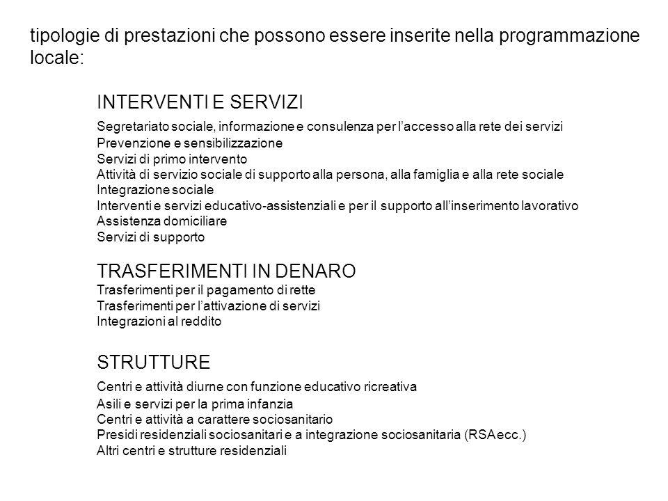 tipologie di prestazioni che possono essere inserite nella programmazione locale: INTERVENTI E SERVIZI Segretariato sociale, informazione e consulenza