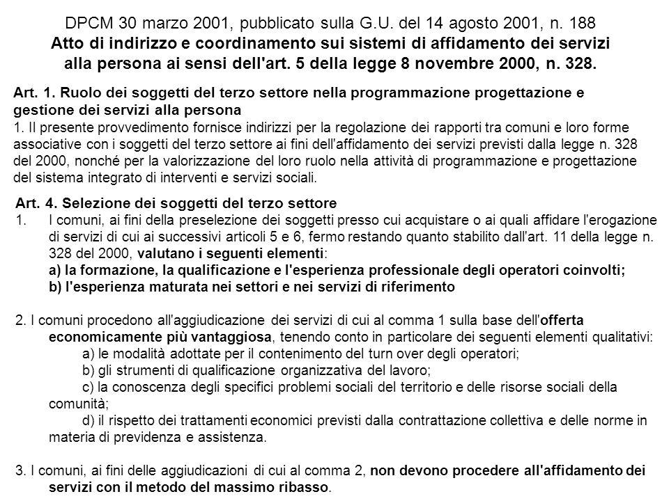 DPCM 30 marzo 2001, pubblicato sulla G.U. del 14 agosto 2001, n. 188 Atto di indirizzo e coordinamento sui sistemi di affidamento dei servizi alla per