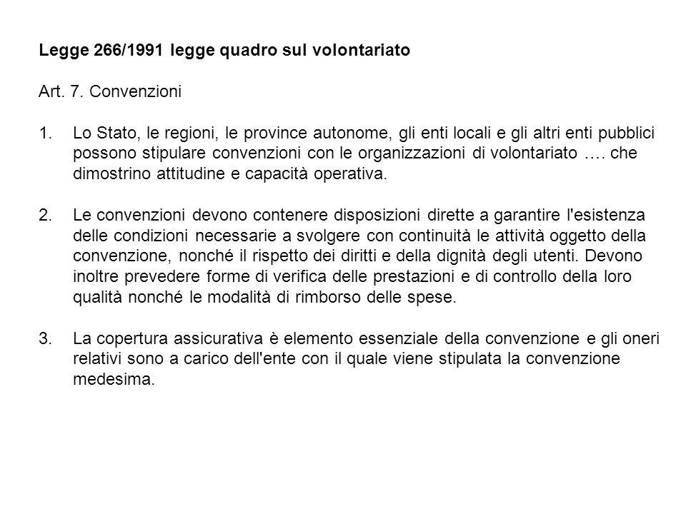 Legge 266/1991 legge quadro sul volontariato Art. 7. Convenzioni 1.Lo Stato, le regioni, le province autonome, gli enti locali e gli altri enti pubbli
