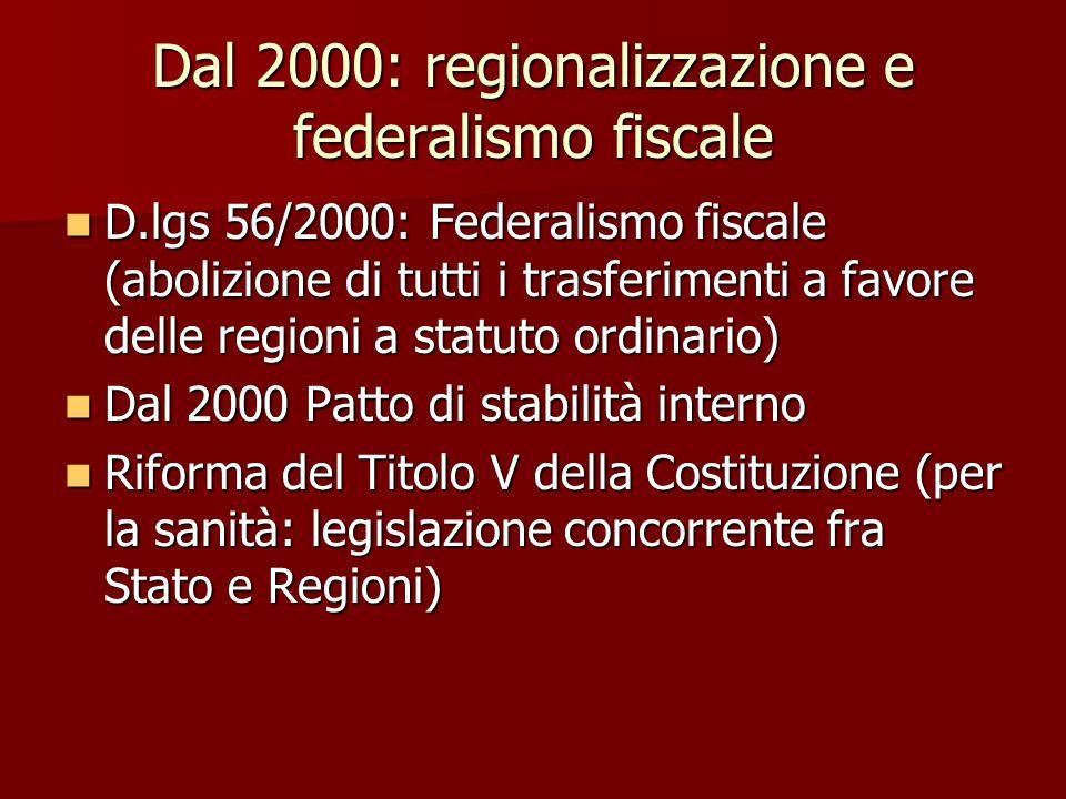 Dal 2000: regionalizzazione e federalismo fiscale D.lgs 56/2000: Federalismo fiscale (abolizione di tutti i trasferimenti a favore delle regioni a statuto ordinario) D.lgs 56/2000: Federalismo fiscale (abolizione di tutti i trasferimenti a favore delle regioni a statuto ordinario) Dal 2000 Patto di stabilità interno Dal 2000 Patto di stabilità interno Riforma del Titolo V della Costituzione (per la sanità: legislazione concorrente fra Stato e Regioni) Riforma del Titolo V della Costituzione (per la sanità: legislazione concorrente fra Stato e Regioni)