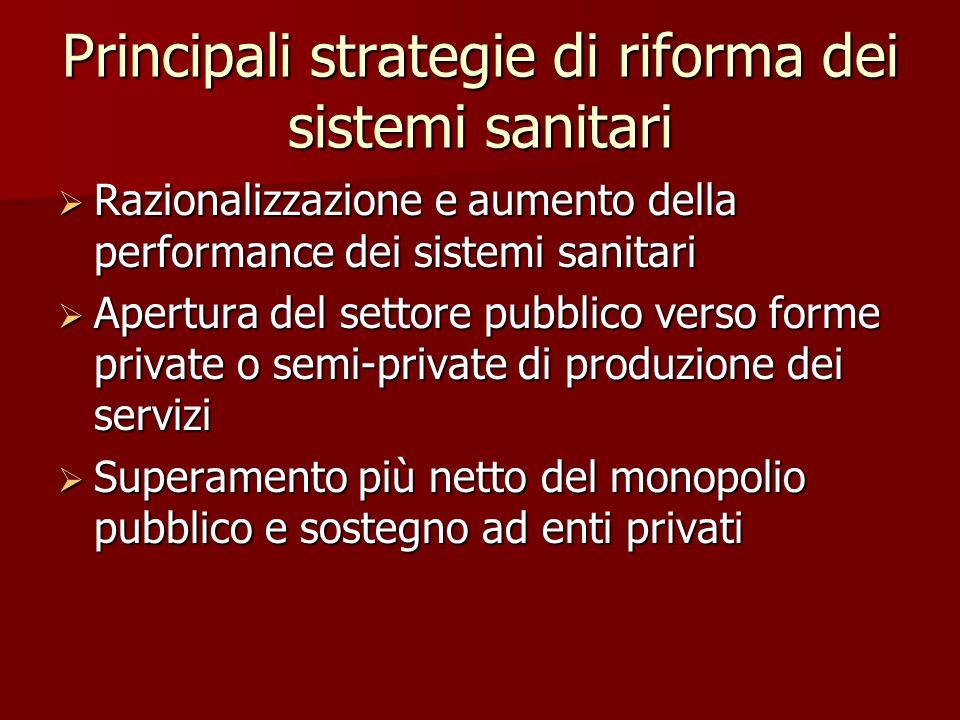 Principali strategie di riforma dei sistemi sanitari  Razionalizzazione e aumento della performance dei sistemi sanitari  Apertura del settore pubblico verso forme private o semi-private di produzione dei servizi  Superamento più netto del monopolio pubblico e sostegno ad enti privati