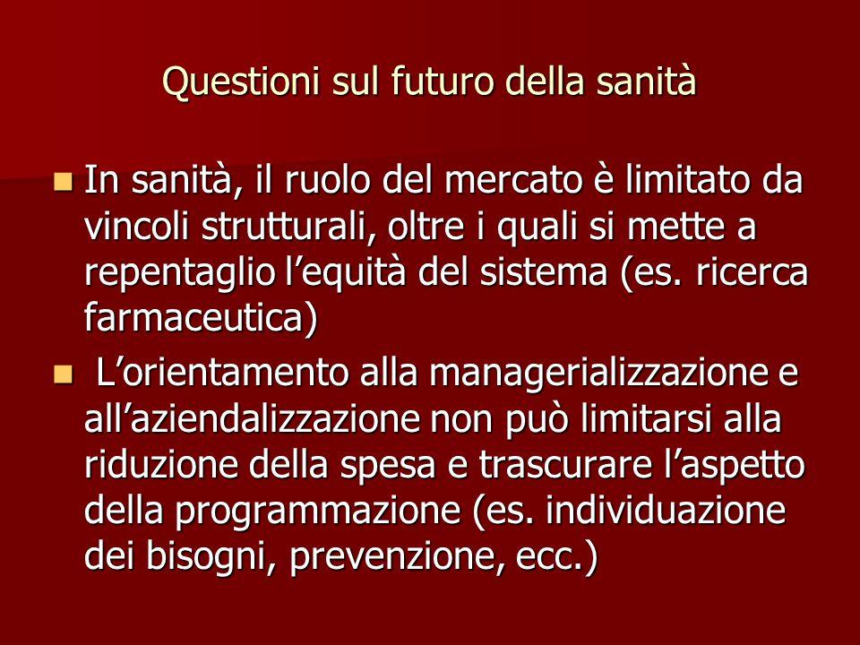 Questioni sul futuro della sanità In sanità, il ruolo del mercato è limitato da vincoli strutturali, oltre i quali si mette a repentaglio l'equità del sistema (es.