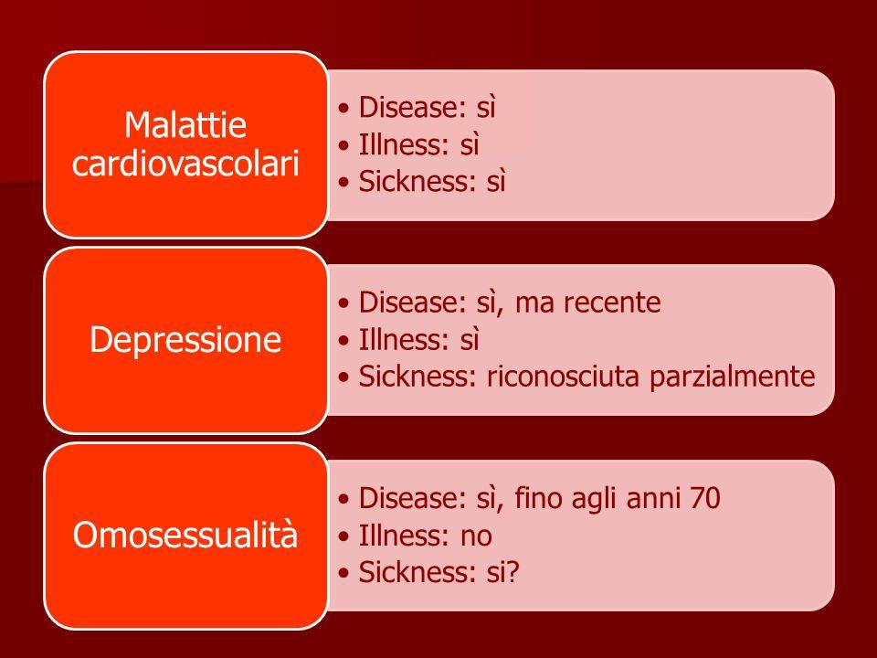 Disease: sì Illness: sì Sickness: sì Malattie cardiovascolari Disease: sì, ma recente Illness: sì Sickness: riconosciuta parzialmente Depressione Disease: sì, fino agli anni 70 Illness: no Sickness: si.