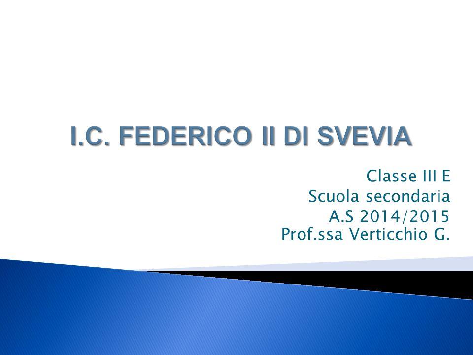Classe III E Scuola secondaria A.S 2014/2015 Prof.ssa Verticchio G.