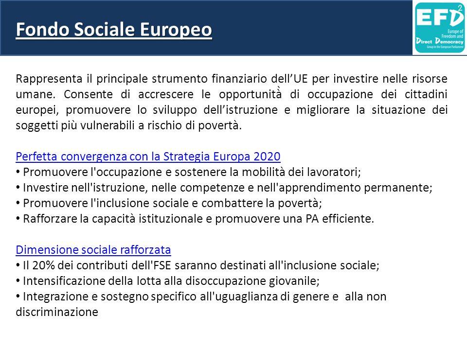 Fondo Sociale Europeo Rappresenta il principale strumento finanziario dell'UE per investire nelle risorse umane. Consente di accrescere le opportunità