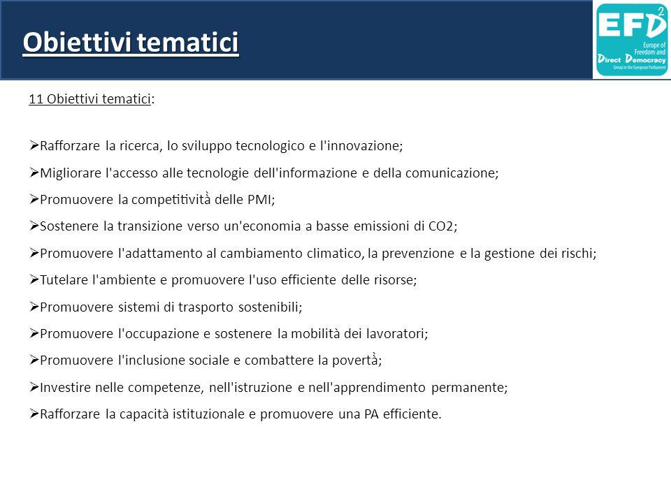 Obiettivi tematici 11 Obiettivi tematici:  Rafforzare la ricerca, lo sviluppo tecnologico e l'innovazione;  Migliorare l'accesso alle tecnologie del