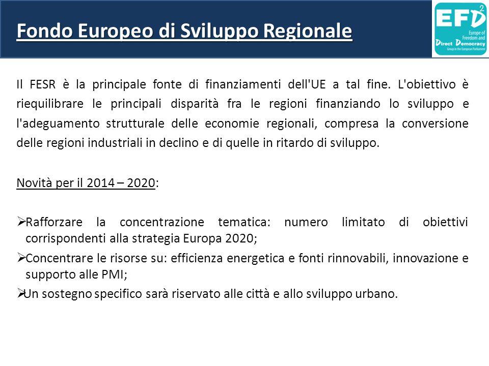 Fondo Europeo di Sviluppo Regionale Il FESR è la principale fonte di finanziamenti dell'UE a tal fine. L'obiettivo è riequilibrare le principali dis