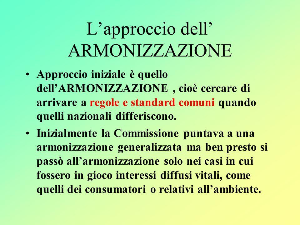 L'approccio dell' ARMONIZZAZIONE Approccio iniziale è quello dell'ARMONIZZAZIONE, cioè cercare di arrivare a regole e standard comuni quando quelli nazionali differiscono.