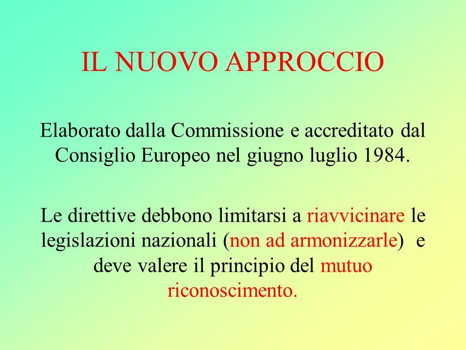 IL NUOVO APPROCCIO Elaborato dalla Commissione e accreditato dal Consiglio Europeo nel giugno luglio 1984.