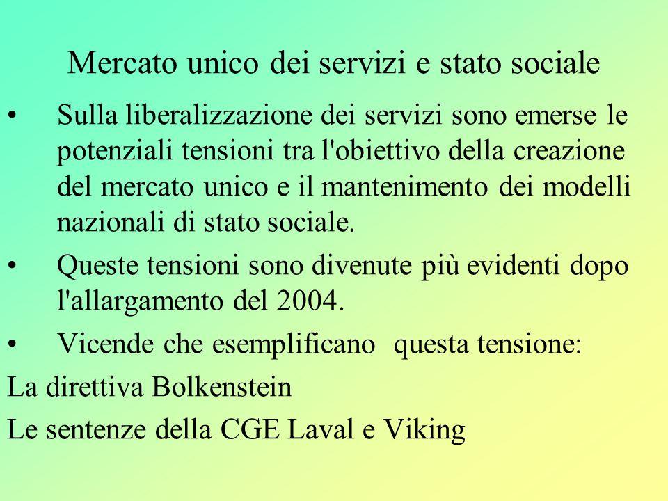 Mercato unico dei servizi e stato sociale Sulla liberalizzazione dei servizi sono emerse le potenziali tensioni tra l obiettivo della creazione del mercato unico e il mantenimento dei modelli nazionali di stato sociale.