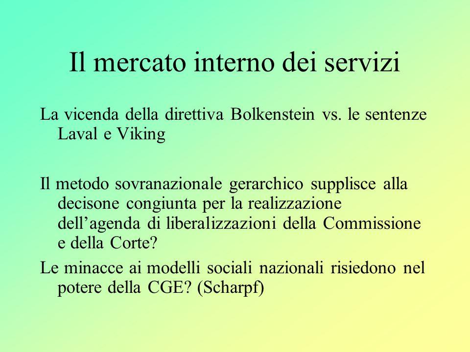 Il mercato interno dei servizi La vicenda della direttiva Bolkenstein vs.