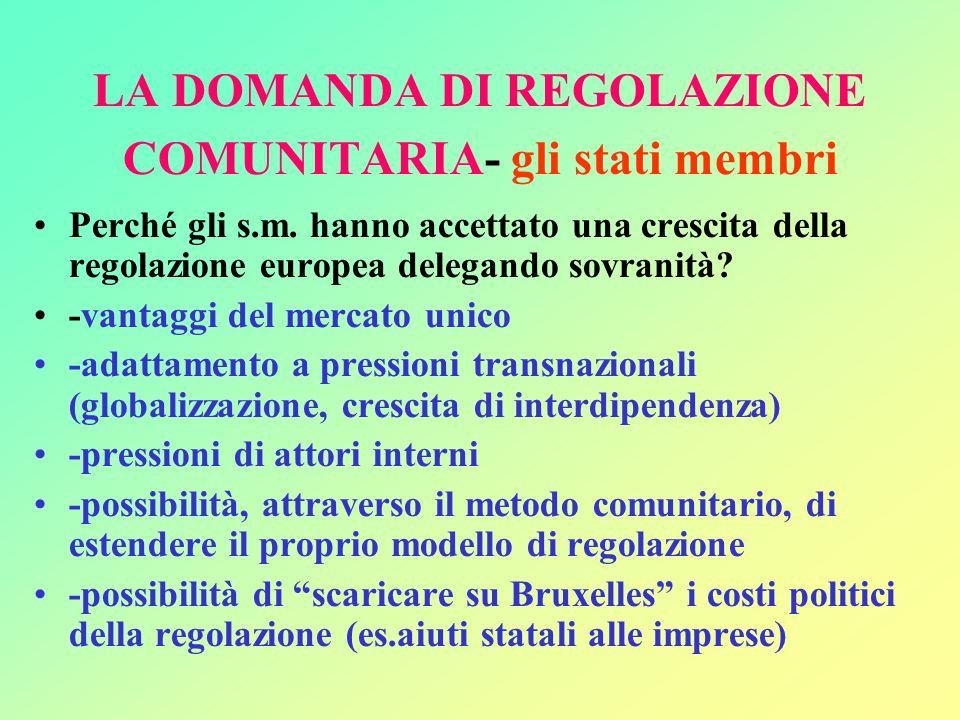 LA DOMANDA DI REGOLAZIONE COMUNITARIA- gli stati membri Perché gli s.m.