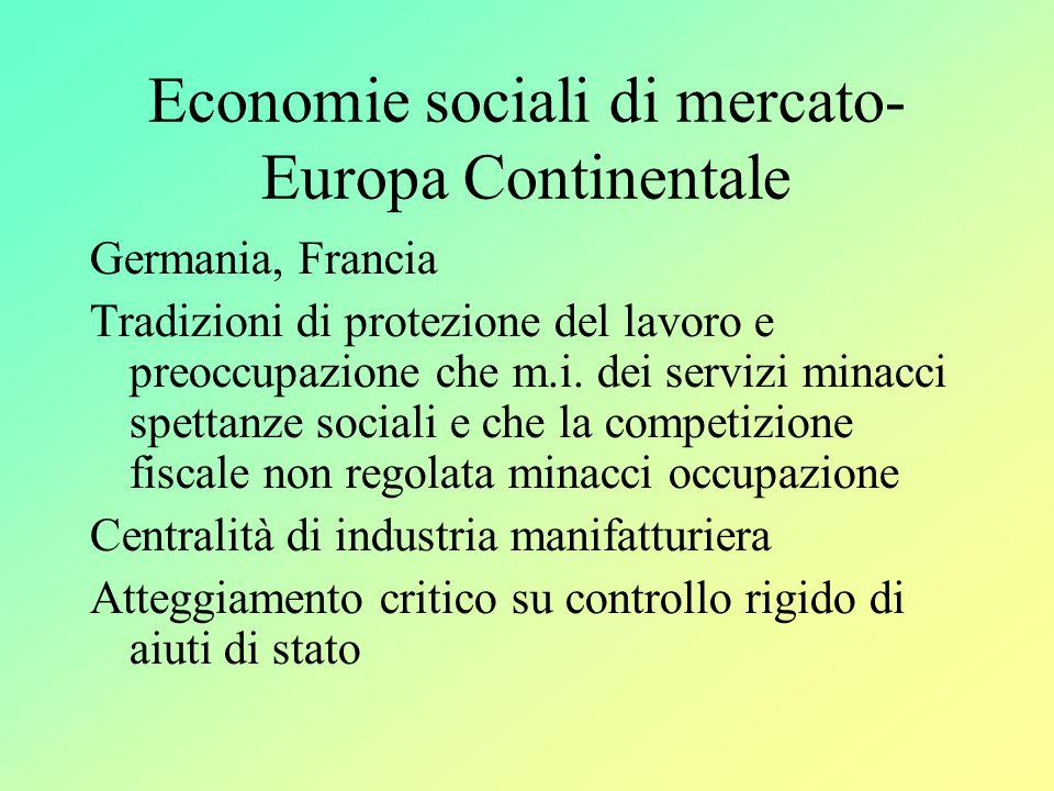 Economie sociali di mercato- Europa Continentale Germania, Francia Tradizioni di protezione del lavoro e preoccupazione che m.i.