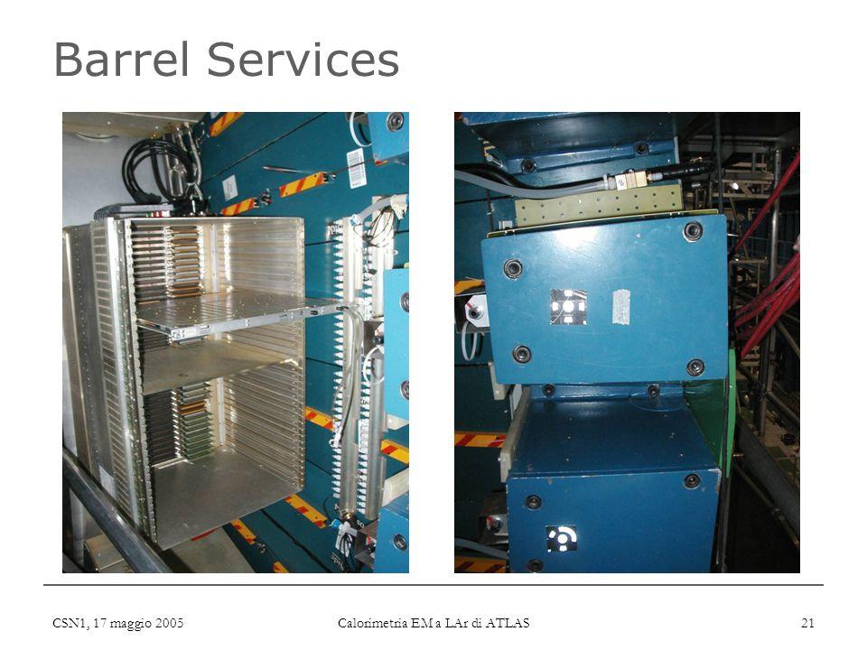 CSN1, 17 maggio 2005 Calorimetria EM a LAr di ATLAS 21 Barrel Services
