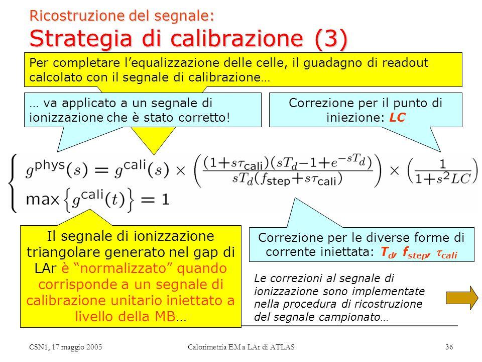 CSN1, 17 maggio 2005 Calorimetria EM a LAr di ATLAS 36 Ricostruzione del segnale: Strategia di calibrazione (3) Correzione per il punto di iniezione: