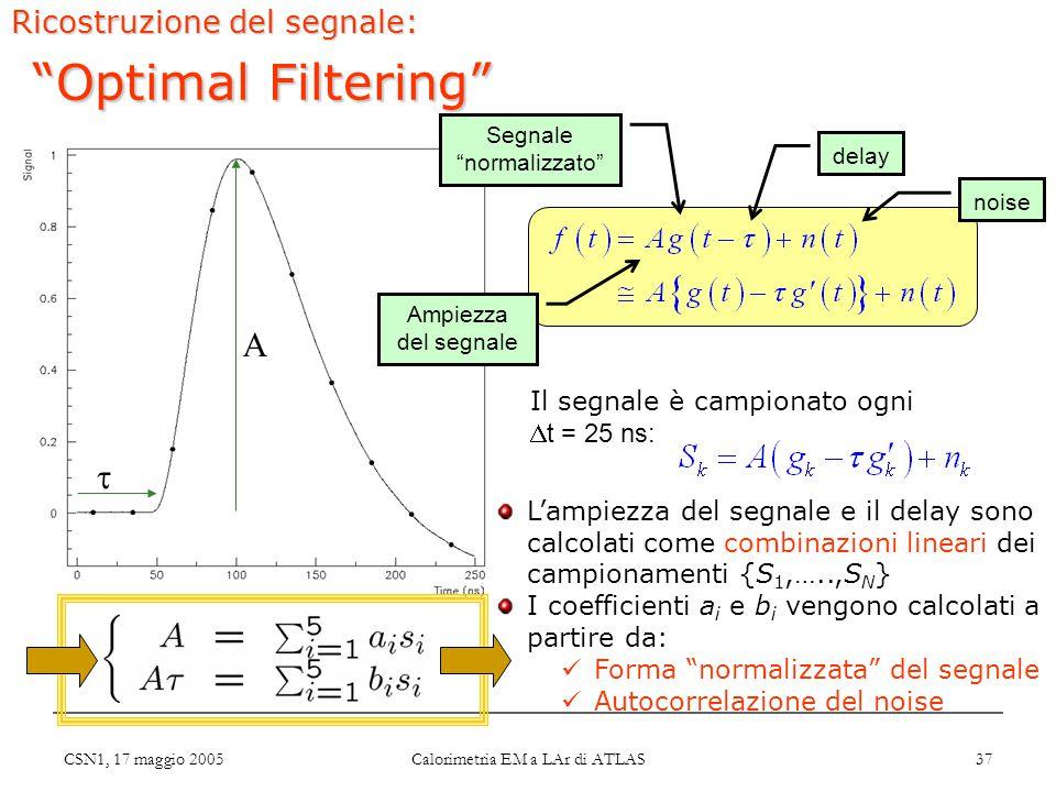 CSN1, 17 maggio 2005 Calorimetria EM a LAr di ATLAS 37 A  Ricostruzione del segnale: Optimal Filtering L'ampiezza del segnale e il delay sono calcolati come combinazioni lineari dei campionamenti {S 1,…..,S N } I coefficienti a i e b i vengono calcolati a partire da: Forma normalizzata del segnale Autocorrelazione del noise Ampiezza del segnale delay Segnale normalizzato noise Il segnale è campionato ogni  t = 25 ns: