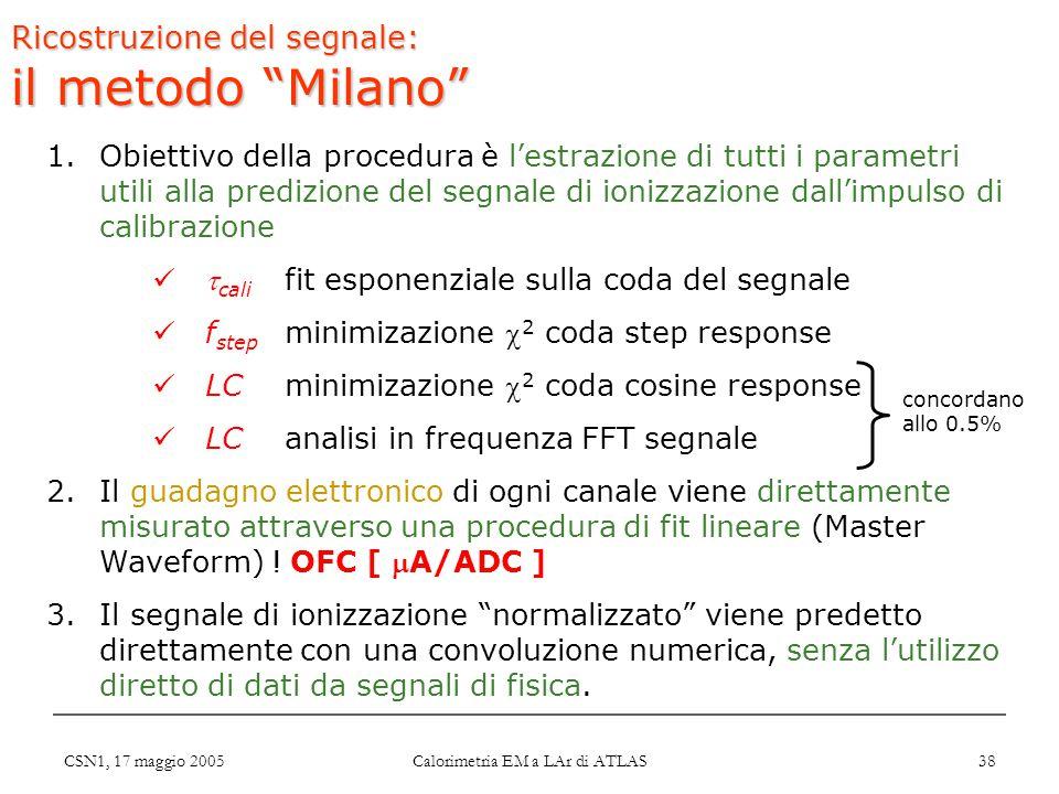 """CSN1, 17 maggio 2005 Calorimetria EM a LAr di ATLAS 38 Ricostruzione del segnale: il metodo """"Milano"""" 1.Obiettivo della procedura è l'estrazione di tut"""