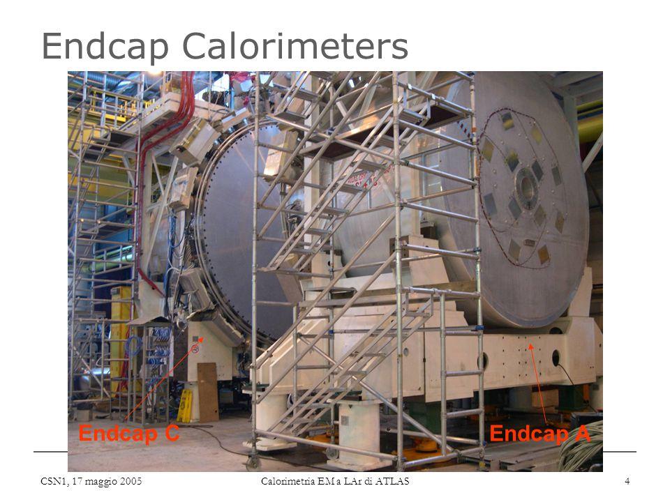 CSN1, 17 maggio 2005 Calorimetria EM a LAr di ATLAS 4 Endcap Calorimeters Endcap C Endcap A