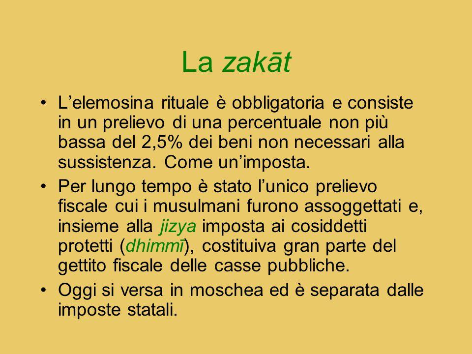 La zakāt L'elemosina rituale è obbligatoria e consiste in un prelievo di una percentuale non più bassa del 2,5% dei beni non necessari alla sussistenz