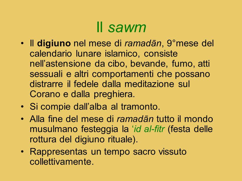 Il sawm Il digiuno nel mese di ramadān, 9°mese del calendario lunare islamico, consiste nell'astensione da cibo, bevande, fumo, atti sessuali e altri