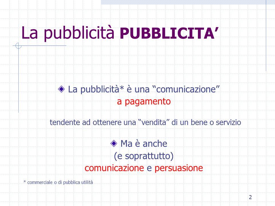 2 La pubblicità PUBBLICITA' La pubblicità* è una comunicazione a pagamento tendente ad ottenere una vendita di un bene o servizio Ma è anche (e soprattutto) comunicazione e persuasione * commerciale o di pubblica utilità