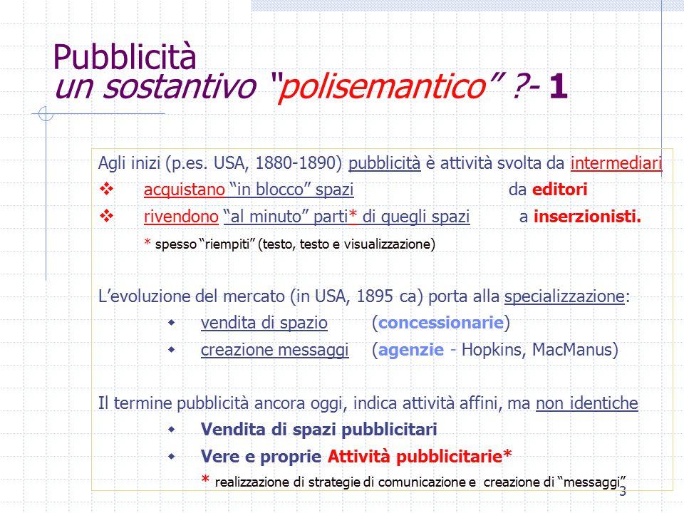 3 Pubblicità un sostantivo polisemantico - 1 Agli inizi (p.es.