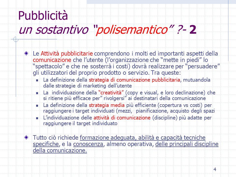 5 Pubblicità un sostantivo polisemantico ?- 3 Discipline della comunicazione  Public relations  Pubblicità  Sales promotion (promozioni)  Internal relations (relazioni interne)  ecc.
