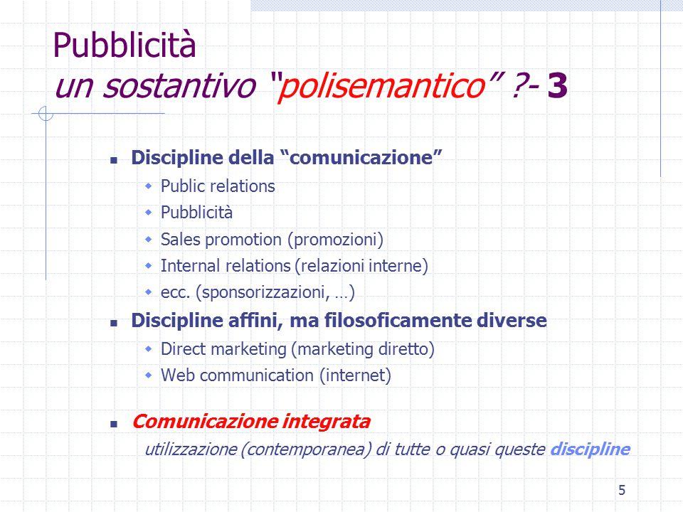5 Pubblicità un sostantivo polisemantico - 3 Discipline della comunicazione  Public relations  Pubblicità  Sales promotion (promozioni)  Internal relations (relazioni interne)  ecc.