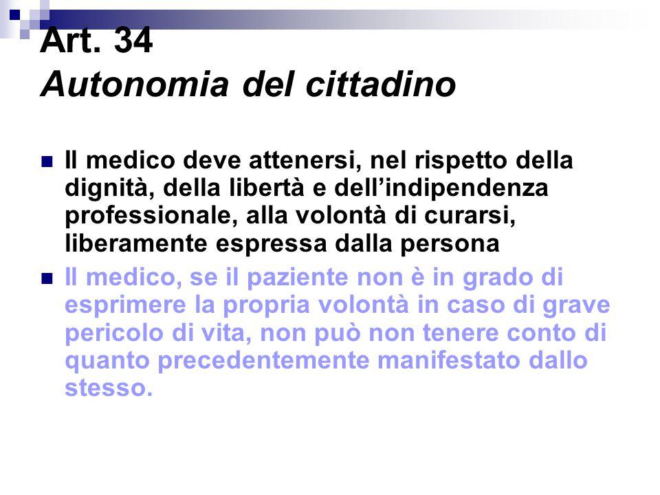 Art. 34 Autonomia del cittadino Il medico deve attenersi, nel rispetto della dignità, della libertà e dell'indipendenza professionale, alla volontà di