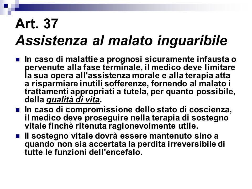 Art. 37 Assistenza al malato inguaribile In caso di malattie a prognosi sicuramente infausta o pervenute alla fase terminale, il medico deve limitare