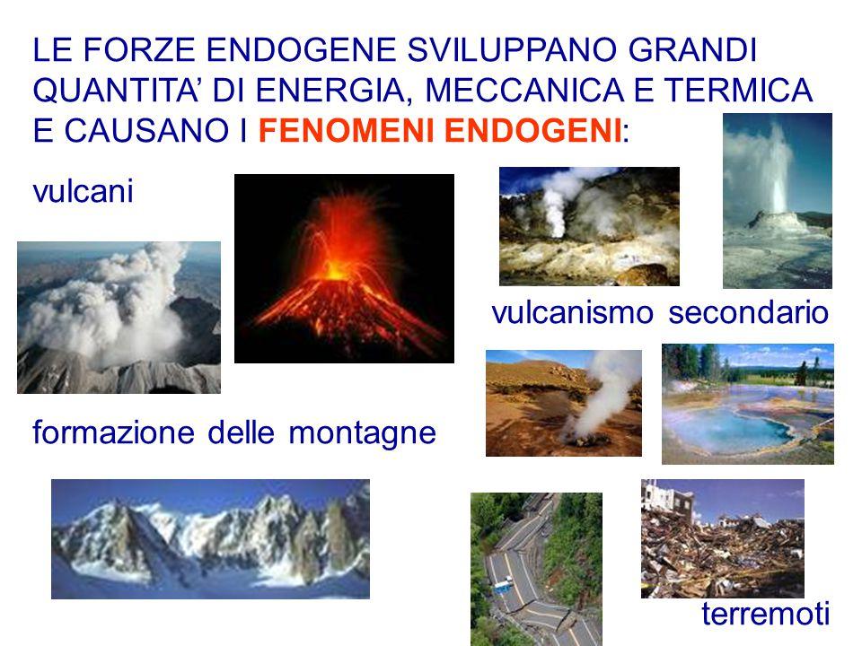LE FORZE ENDOGENE SVILUPPANO GRANDI QUANTITA' DI ENERGIA, MECCANICA E TERMICA E CAUSANO I FENOMENI ENDOGENI: vulcani vulcanismo secondario formazione