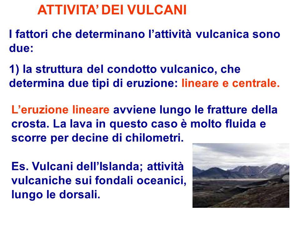 ATTIVITA' DEI VULCANI I fattori che determinano l'attività vulcanica sono due: 1) la struttura del condotto vulcanico, che determina due tipi di eruzi