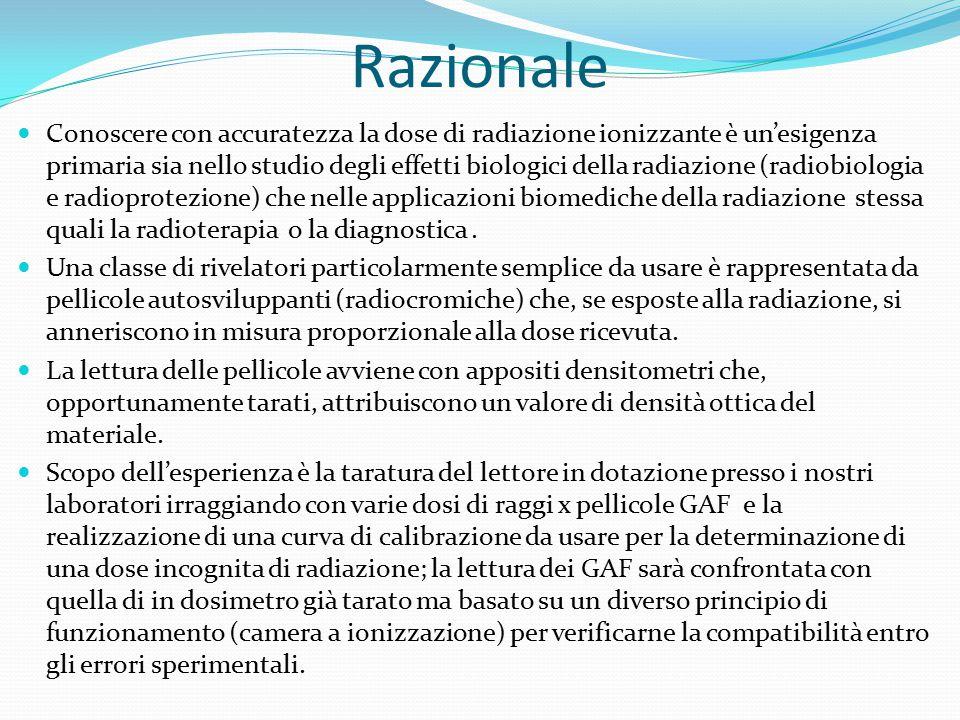 Razionale Conoscere con accuratezza la dose di radiazione ionizzante è un'esigenza primaria sia nello studio degli effetti biologici della radiazione