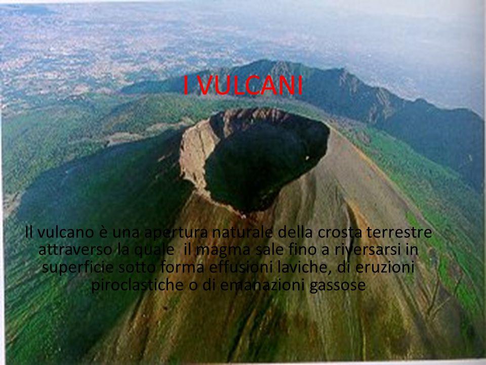 I VULCANI Il vulcano è una apertura naturale della crosta terrestre attraverso la quale il magma sale fino a riversarsi in superficie sotto forma effu