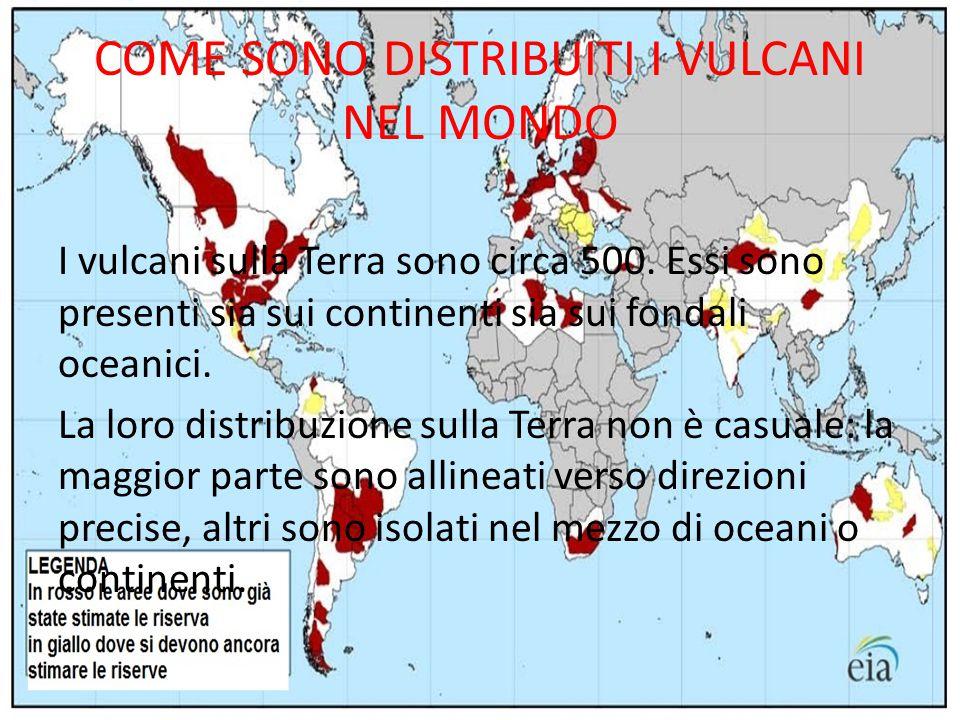 COME SONO DISTRIBUITI I VULCANI NEL MONDO I vulcani sulla Terra sono circa 500. Essi sono presenti sia sui continenti sia sui fondali oceanici. La lor
