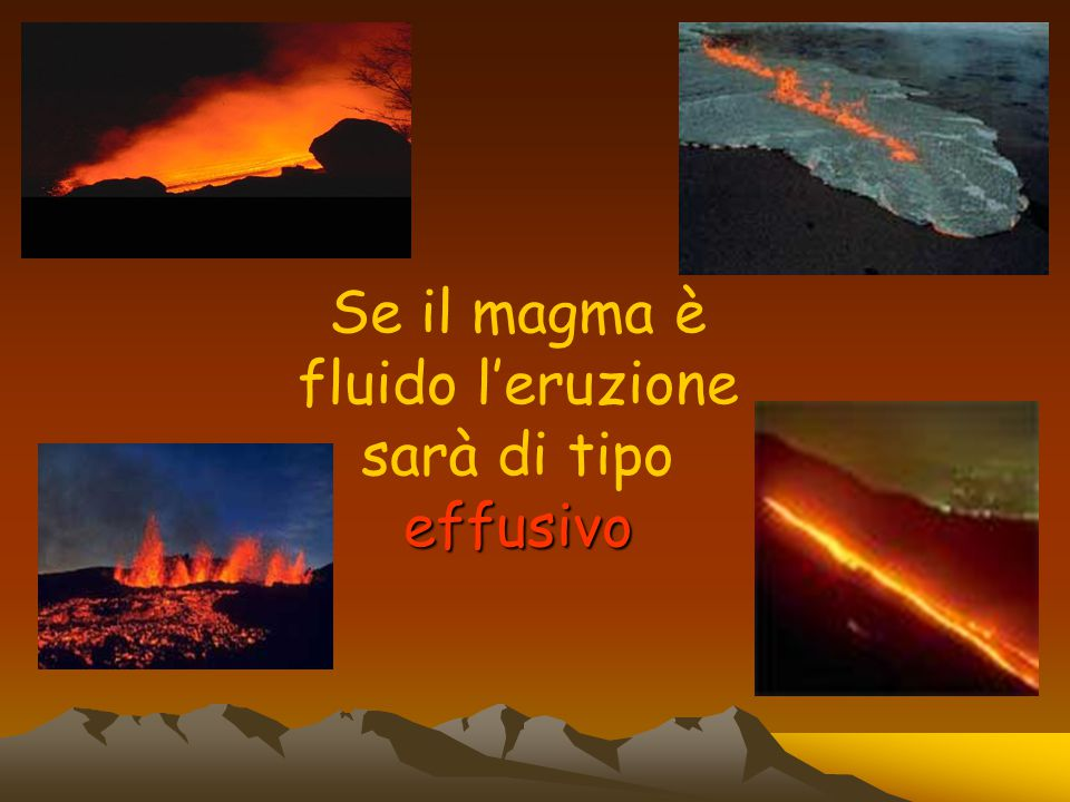 effusivo Se il magma è fluido l'eruzione sarà di tipo effusivo